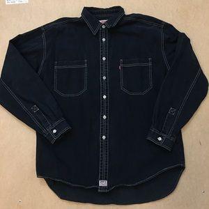 Levi's Black Denim Button Down Shirt XL Men's